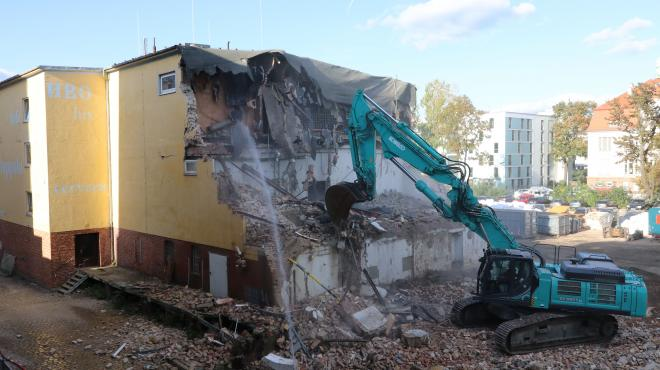 Demolition work on the old cellar building